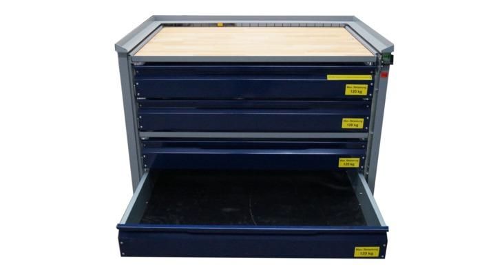 Grid box with drawer system -