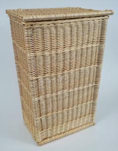 Coffre rectangulaire osier blanc couvercle plat  - L.70cm