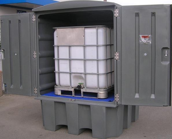 Abri de stockage PEHD avec portes et bac de rétention... - BRP1C EXT1000 Bacs de rétention acier et plastique
