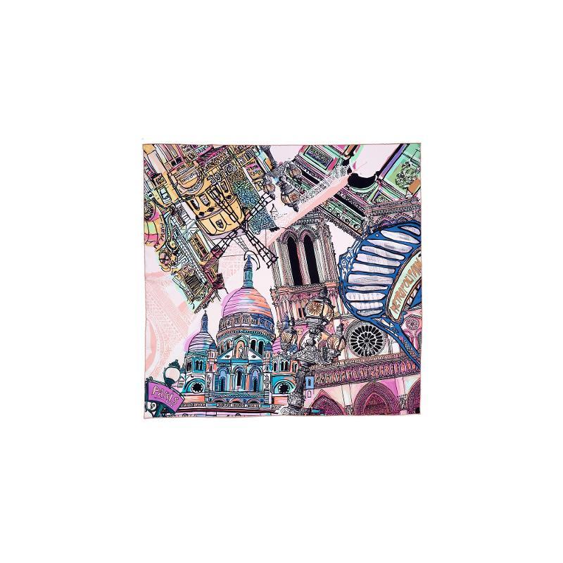 Carré En Twill De Soie Imprimé Paris - Rose - HIVER 21-22