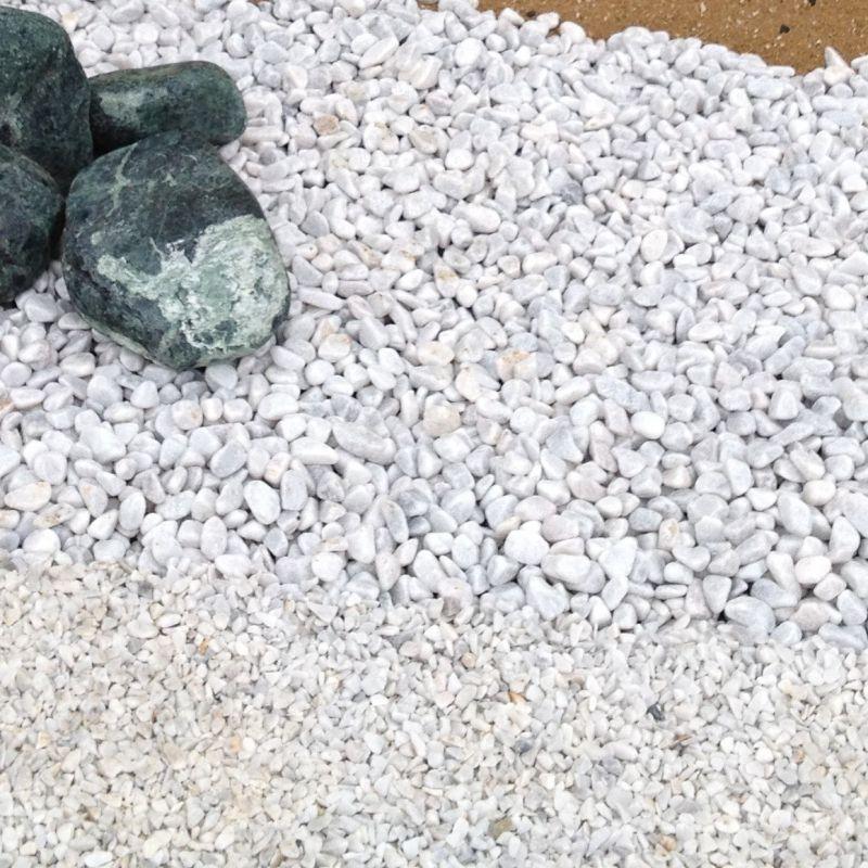 Sac de gravier décoratif - Gravier de Marbre, blanc de carrare, au détail