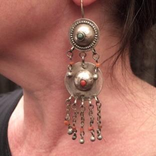 Boucles d'oreilles - Argent, corail, turquoise, Afghanistan
