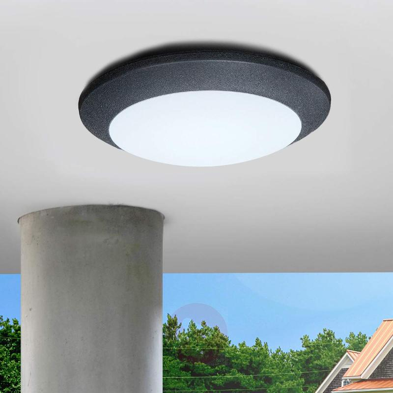 LED outdoor ceiling light Berta, black, 11W 3,000K - Outdoor Ceiling Lights