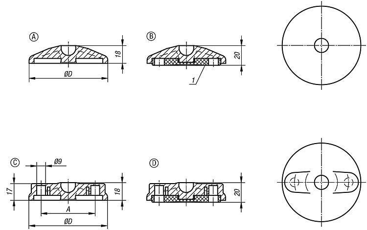 Embase plastique pour pied articulé - Pieds réglables, pieds de machine