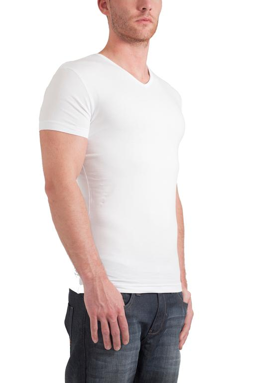 Garage T-Shirt V-neck bodyfit White Stretch ( art 0202)