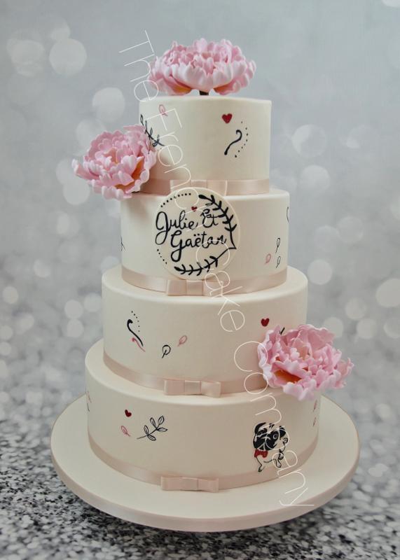 Gâteaux et Pièces Montées sur-mesure - Pièce montée mariage pivoines