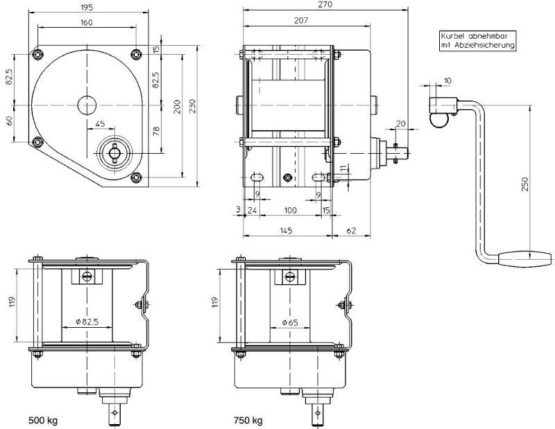 Treuils manuels - Treuil manuel à câble 500kg et 750kg inox