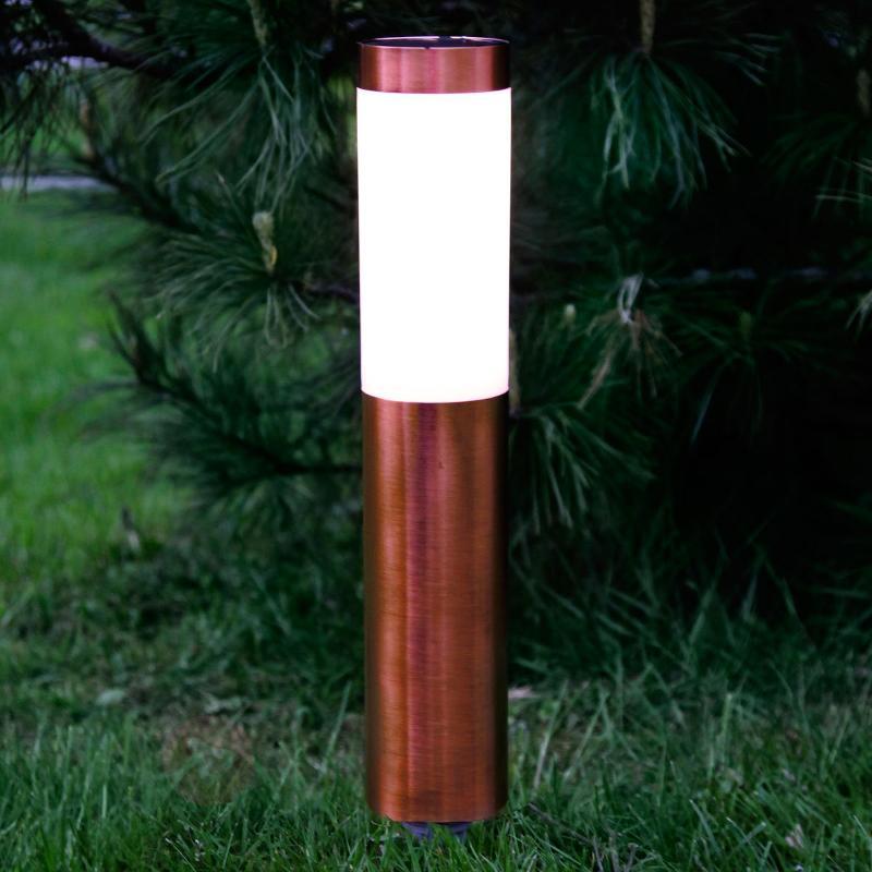 Belle lampe LED à piquet à l'aspect cuivré Freya - Lampes solaires décoratives