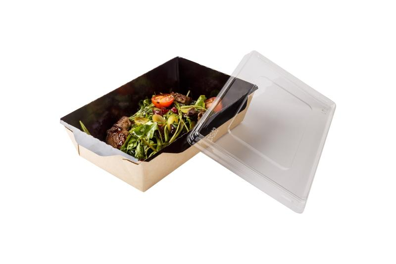 Salad Box with transparent plastic cover «Black Edition» - Kraft salad box with transparent plastic cover with black inner side