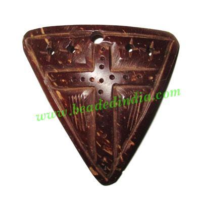Handmade coconut shell wood Cross pendants, size : 47x49x3mm - Handmade coconut shell wood Cross pendants, size : 47x49x3mm