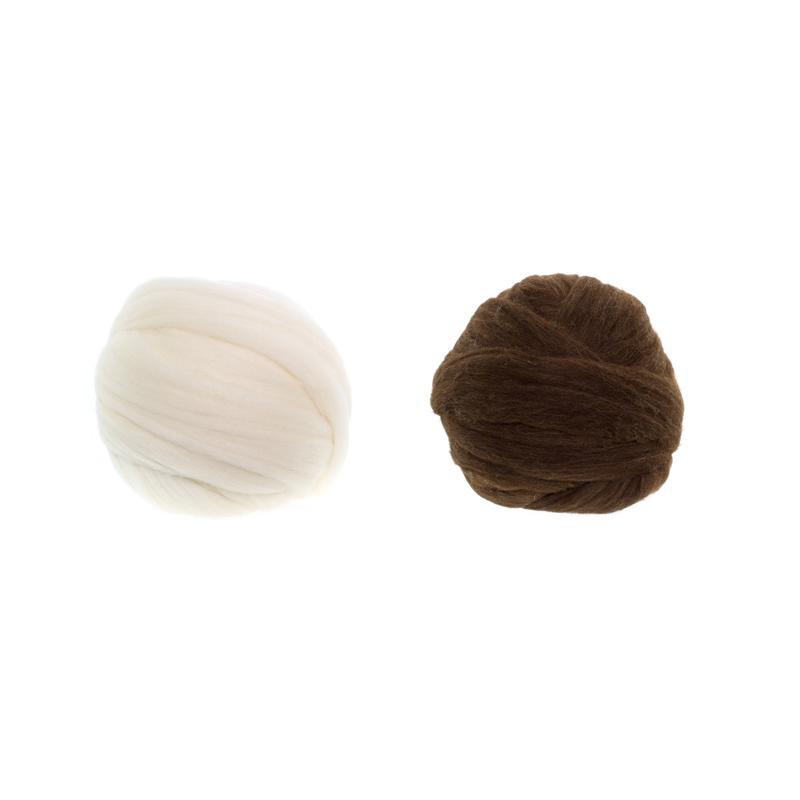 Lana Peinada Merino Española - Lana en mecha de colores naturales, blanco y marrón.