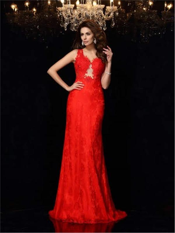 Coating Lace Long Evening Dress - Long Eveningdress