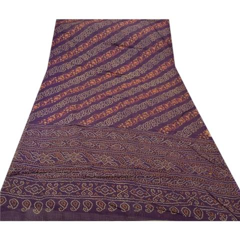 Pure Printed Cotton Saree - Sanskriti Vintage Pure Cotton Saree Purple Bandhani Printed Sari Craft Fabric
