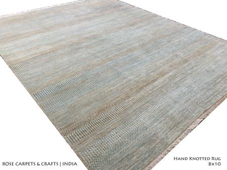 Hand Woven Modern / Contemporary Rug in Wool & Viscose Pile - Hand Knotted Contemporary Style Carpet in Wool & Viscose Silk Pile in size 8x10