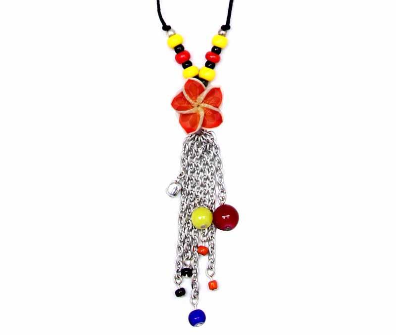 Cotton Thread Floral Pendant -