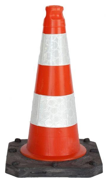 Cone hard with reflective stripes H 50 cm - SIKEL03SW