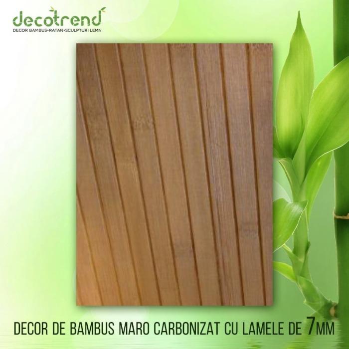 DECOR BAMBUS MARO CARBONIZAT CU LAMELE DE 7MM – TON MEDIU - Bambusul decorativ pentru pereți, panoul lambriu este un produs îndrăgit