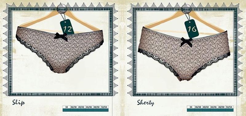 Slip et Shorty imprimé Sable et noir - Lingerie pour Femmes