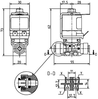 2/2 way direct acting solenoid valve NC DN 1- 5 - 43.00x.142, 1