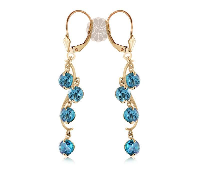 Blue Stone Gold Earrings -