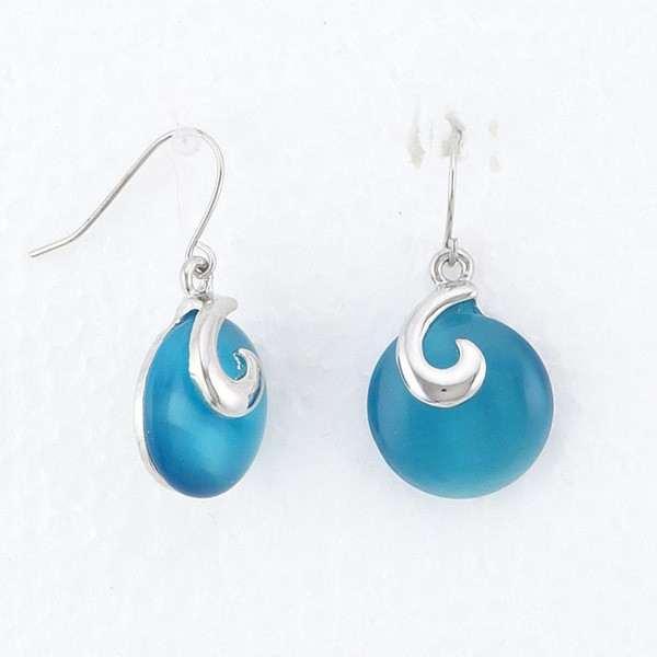 Boucles d'oreilles disque de verre sur monture argenté - boucles d'oreilles pendants