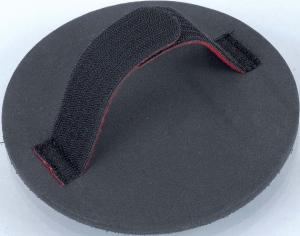 Handschleifteller rund mit Handschlaufe, Klettsystem - Für Flächenschliff (harte Seite) und zum Schleifen von Radien