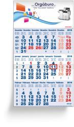 3-Monatsplaner - 3-Monats-Wandkalender Classic blau - 6-sprachige deutsche Ausgabe
