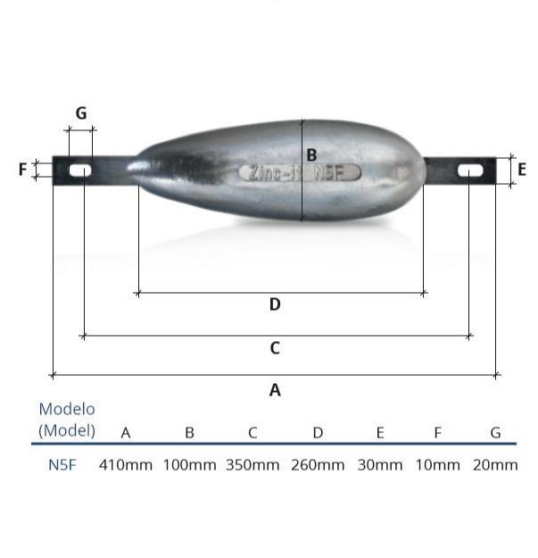 Ânodo de zinco para protecção catódica - Ânodos de casco N5F