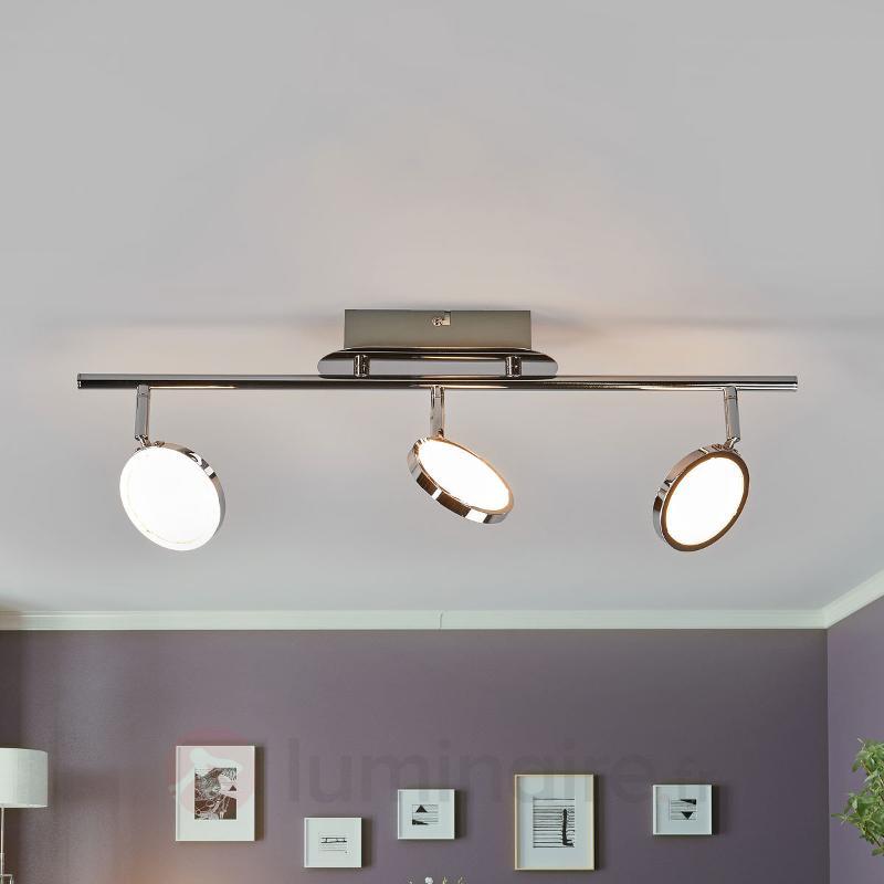 Plafonnier LED chromé Hazel à trois lampes - Plafonniers LED