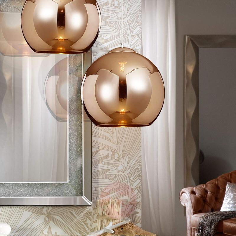 Copper-coloured pendant light Esfera w.glass shade - indoor-lighting