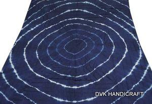 Tie dye shibori kantha quilt, hand dyed blue printed quilt - hand block printed cotton kantha quilt, india handmade boho bohemian and throw