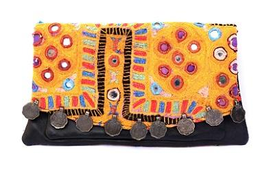 vintage hand embroidery leather clutch