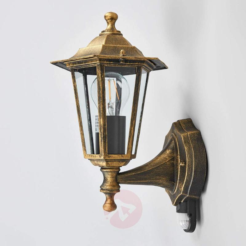 Outdoor lamp PEKING w/infrared detector black-gold - Wall Lights with Motion Sensor