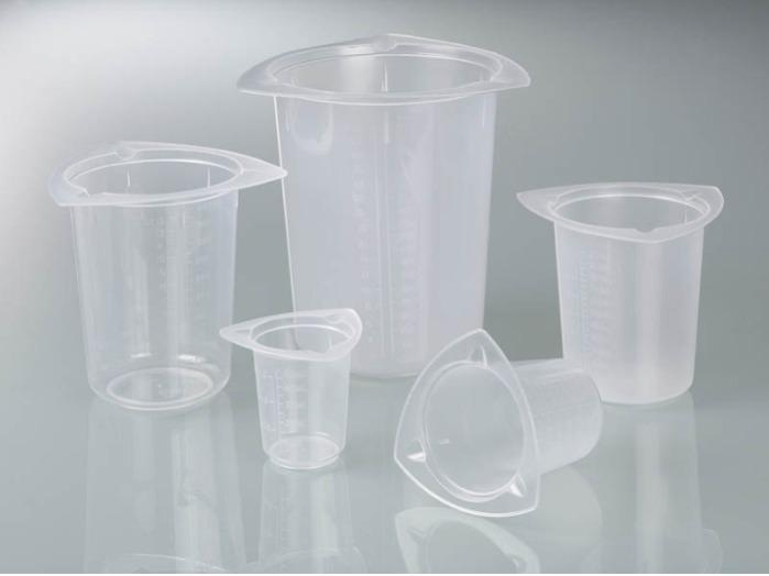 Jarra graduada universal - Equipo de laboratorio, dispositivos de medición, vaso de plástico, PP, transpare