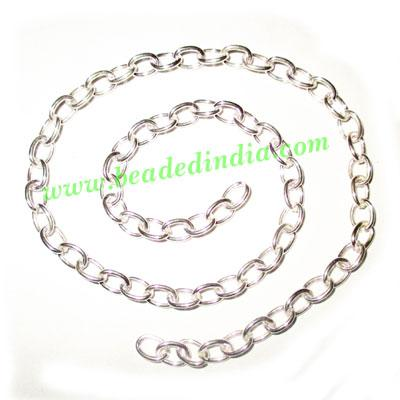 Silver Plated Metal Chain, size: 1x5mm, approx 34.3 meters i - Silver Plated Metal Chain, size: 1x5mm, approx 34.3 meters in a Kg.