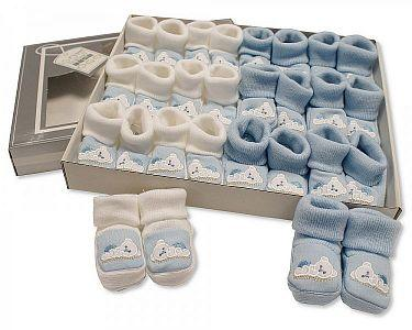 Baby Booties with Embroidery - Teddy  -