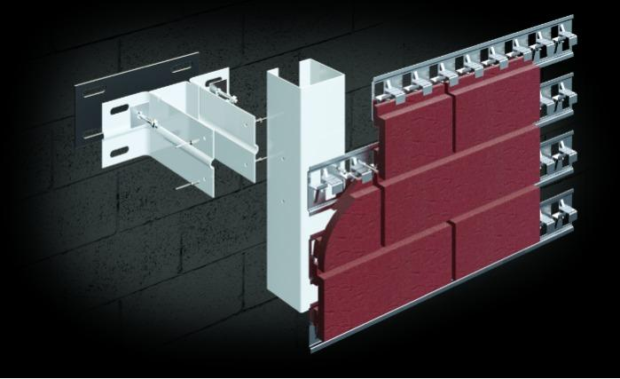 ALT-FASAD 11 - For cladding with decorative clinker tiles (like bricks) in concealed fasteners.