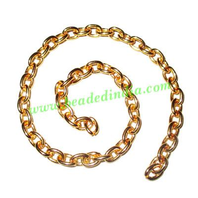 Gold Plated Metal Chain, size: 1x6mm, approx 17 meters in a  - Gold Plated Metal Chain, size: 1x6mm, approx 17 meters in a Kg.