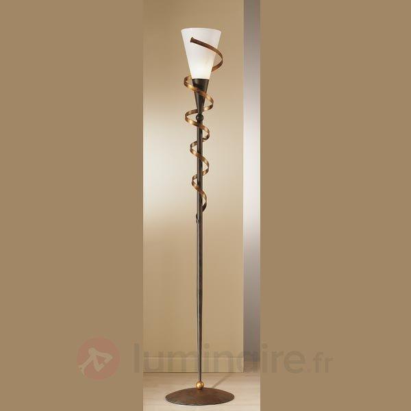 Lampadaire BONITO avec spirale dorée - Lampadaires rustiques