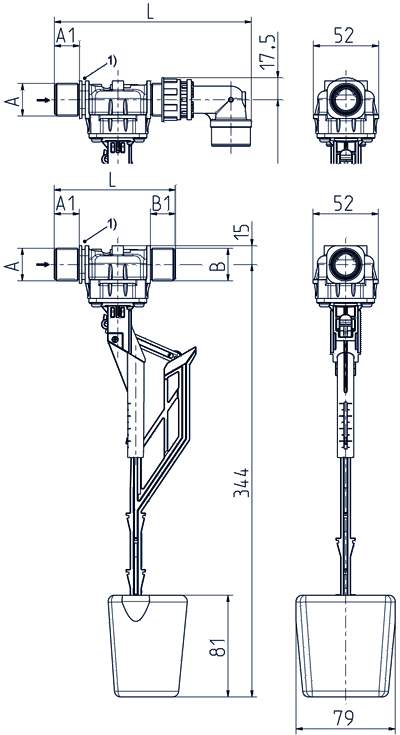 Float valve, DN 17, with vertical guide float - 21.017.126 lin