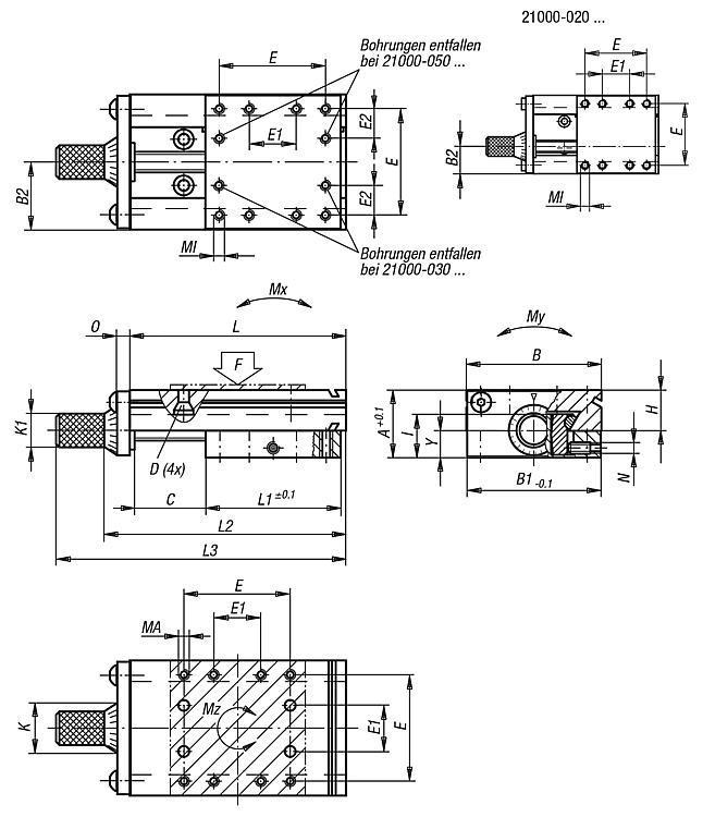 Systeme und Komponenten für den Maschinen und Anlagenbau - Schwalbenschwanz-Schlittenführungen mit Mikrometerspindel