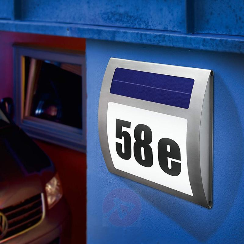 LED house number light Wave - solar-powered - stainless-steel-outdoor-wall-lights