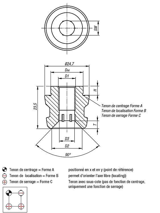 Tenon de serrage UNI lock à pas de 50 mm - UNI lock pas de 50 mm