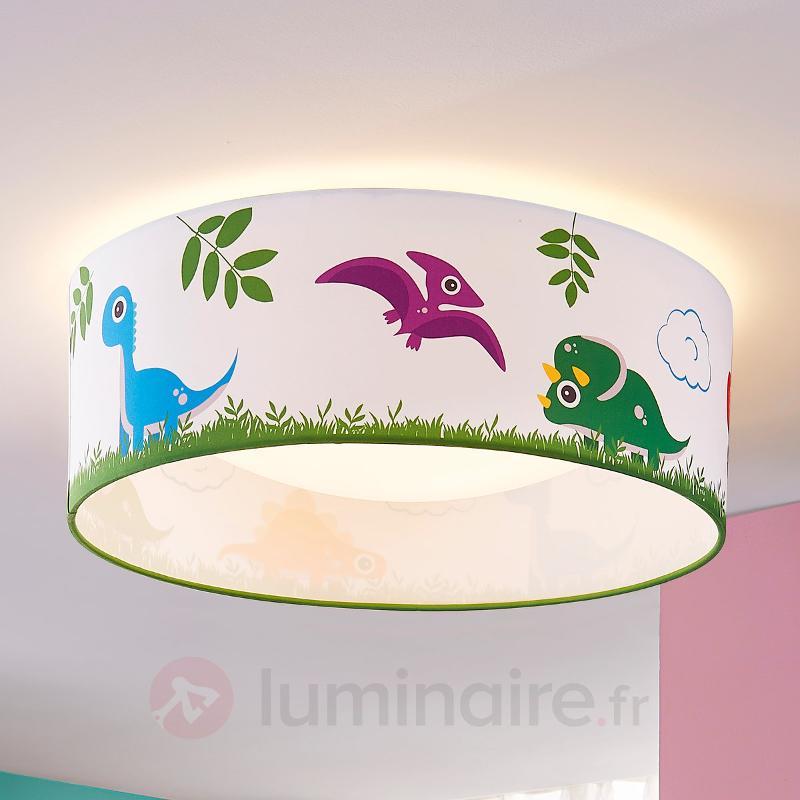 Dinoland - plafonnier chambre d'enfant, tissu, LED - Chambre d'enfant