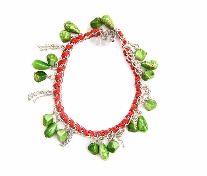 Textured Green Bead Anklet -