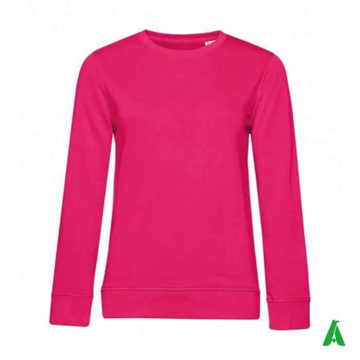 Felpa 100% cotone organico per donna - Felpa girocollo per donna con tessuto di qualita' superiore in cotone organico