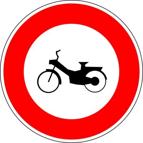 Panneau B9g Ou B9h Accès Interdit Aux Cyclomoteurs Ou Motocyclettes Légères - Balisage De Chantier Et Panneaux Routiers