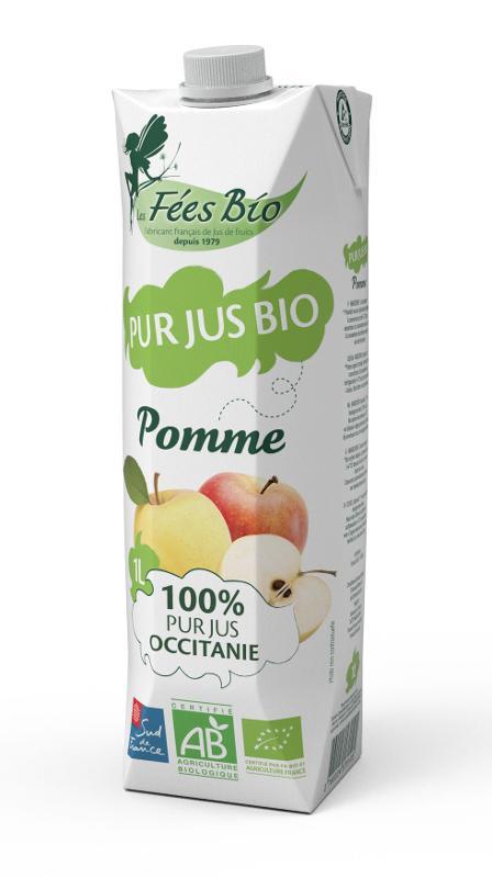 Pur Jus de Pomme Bio 100% Occitanie LES FEES BIO brique 1L