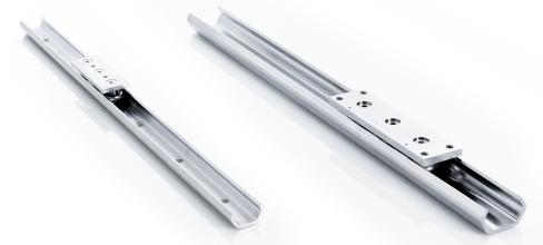 X-Rail nitrided - Linear bearings with bended C-profile. Available in zinc-plated steel, stainless