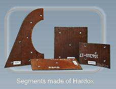 Segments made of Hardox - Wear resistant equipment